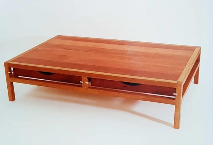 Coffee table made from Jarrah and Tallow timbers
